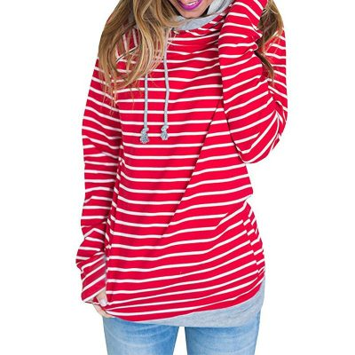 Women's Patchwork Striped Pullover Long Sleeve Hoodie, Tops With Pockets, Hooded Sweatshirt