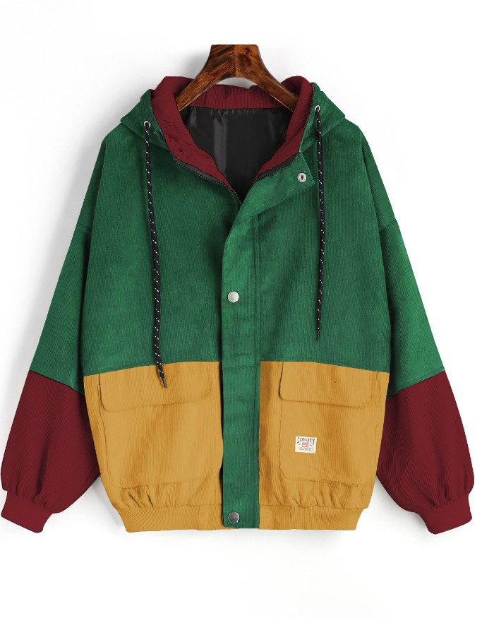 Winter Warm Color Block Hooded Corduroy Jacket Drawstring Hit Color Patched Pocket Thick Basic Women Coat 6