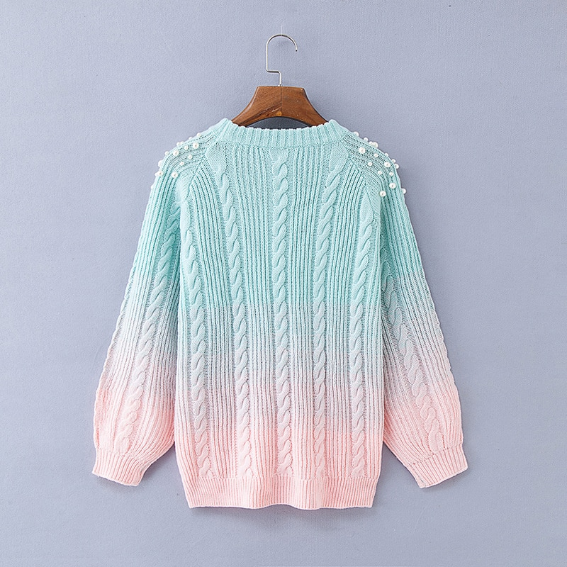 Gradient Women's Sweater, Pullover Beading Long Sweater 15