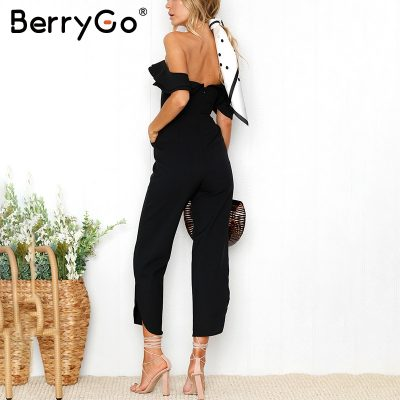 Sexy Backless, Off Shoulder Jumpsuit, Women's Tiered Ruffle High Waist Jumpsuit