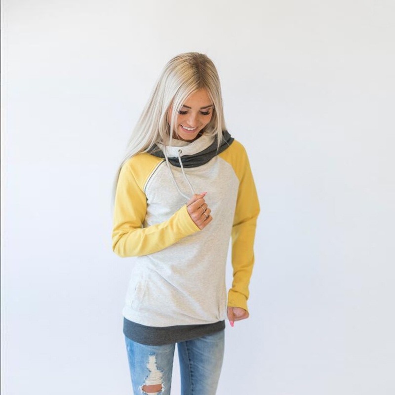 Women's Patchwork Striped Pullover Long Sleeve Hoodie, Tops With Pockets, Hooded Sweatshirt 64