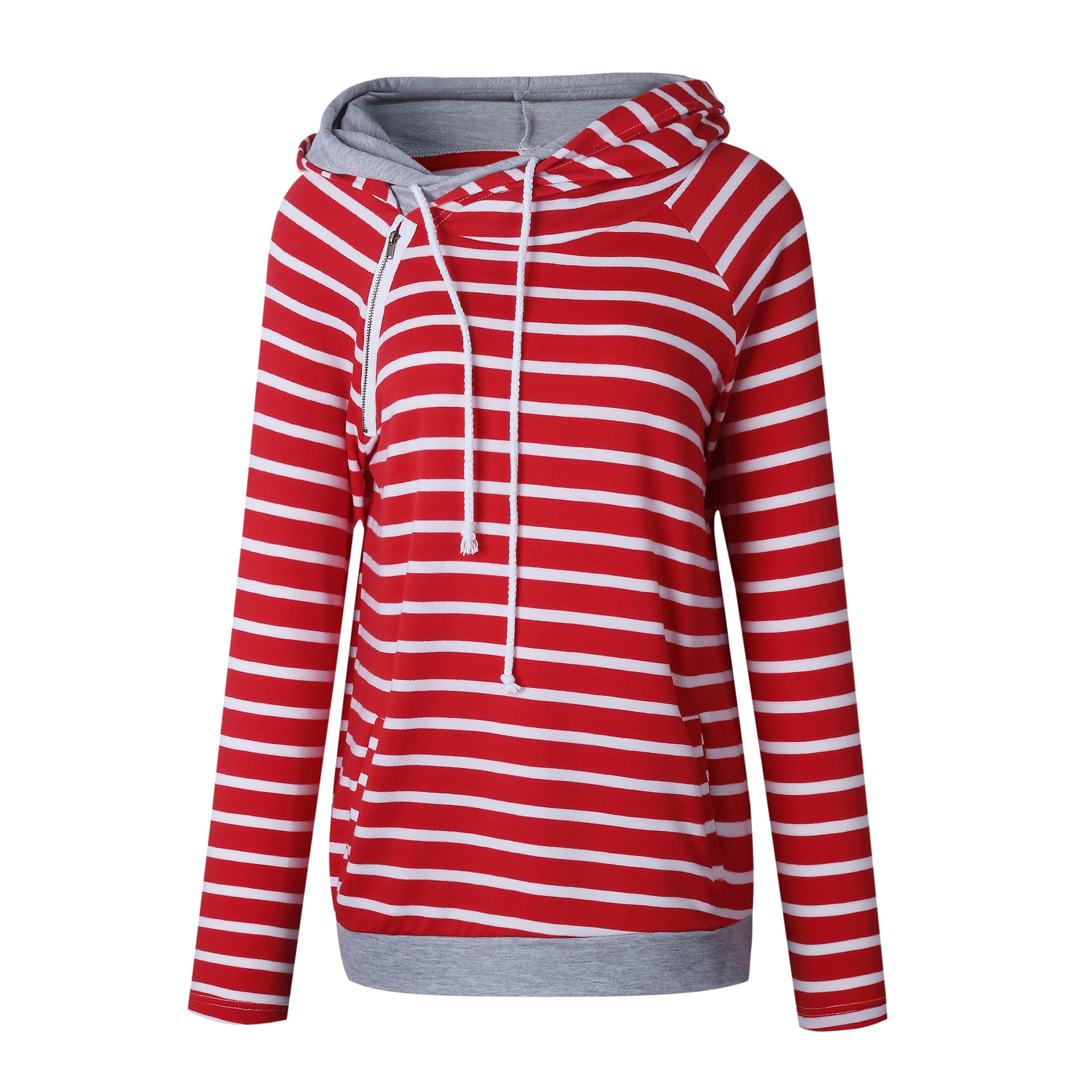 Women's Patchwork Striped Pullover Long Sleeve Hoodie, Tops With Pockets, Hooded Sweatshirt 39