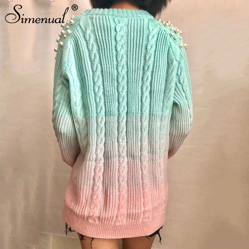 Gradient Women's Sweater, Pullover Beading Long Sweater 12