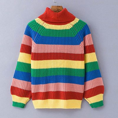 Rainbow Turtleneck Sweater, Women's Winter Knitted  Fashion Striped Over Sized Pullover