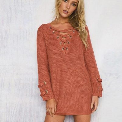 Women's  Drawstring V- neck Long Sleeve Knitted Pullover, Loose Mid Length Sweater Jumper Tops Knitwear