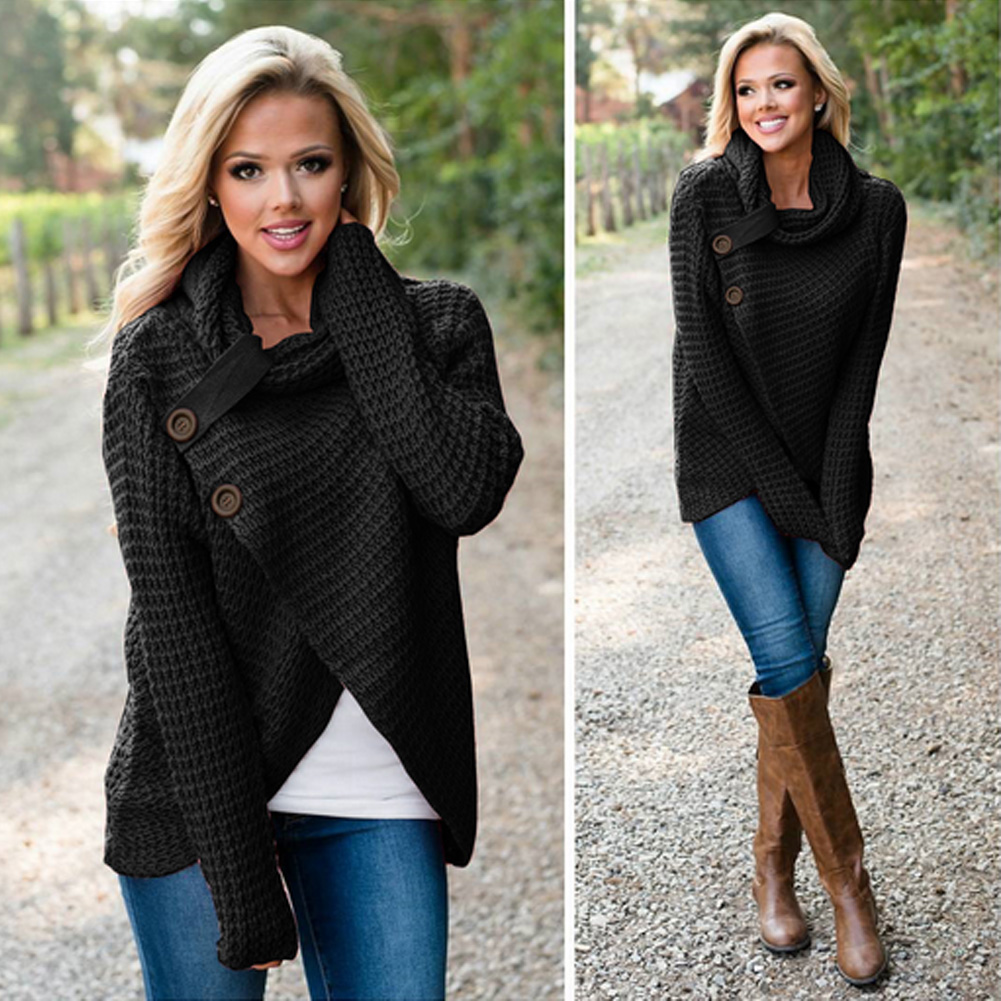 Women's Long Sleeve Sweater, Scarf Collar Knitted Oversized Solid 13