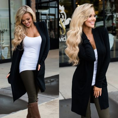 Women's Cardigan Long Sleeve, Elegant Pocket Knitted Outerwear Sweater