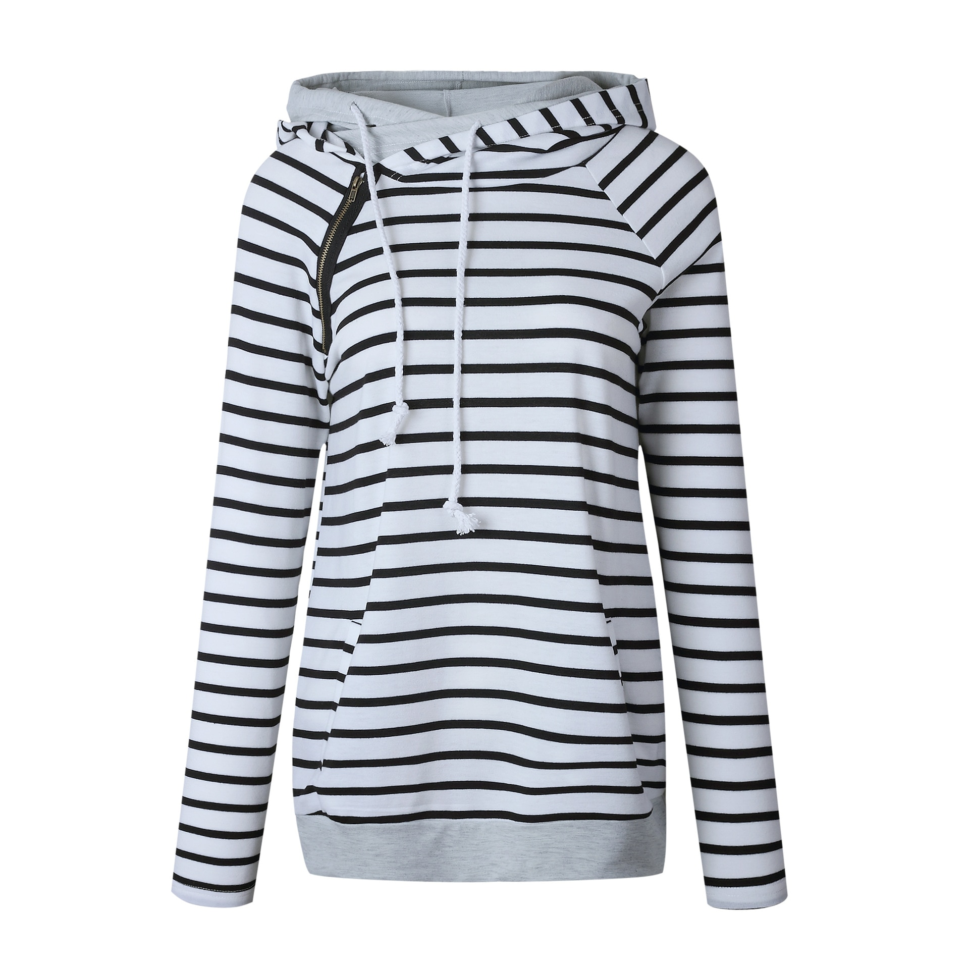 Women's Patchwork Striped Pullover Long Sleeve Hoodie, Tops With Pockets, Hooded Sweatshirt 33
