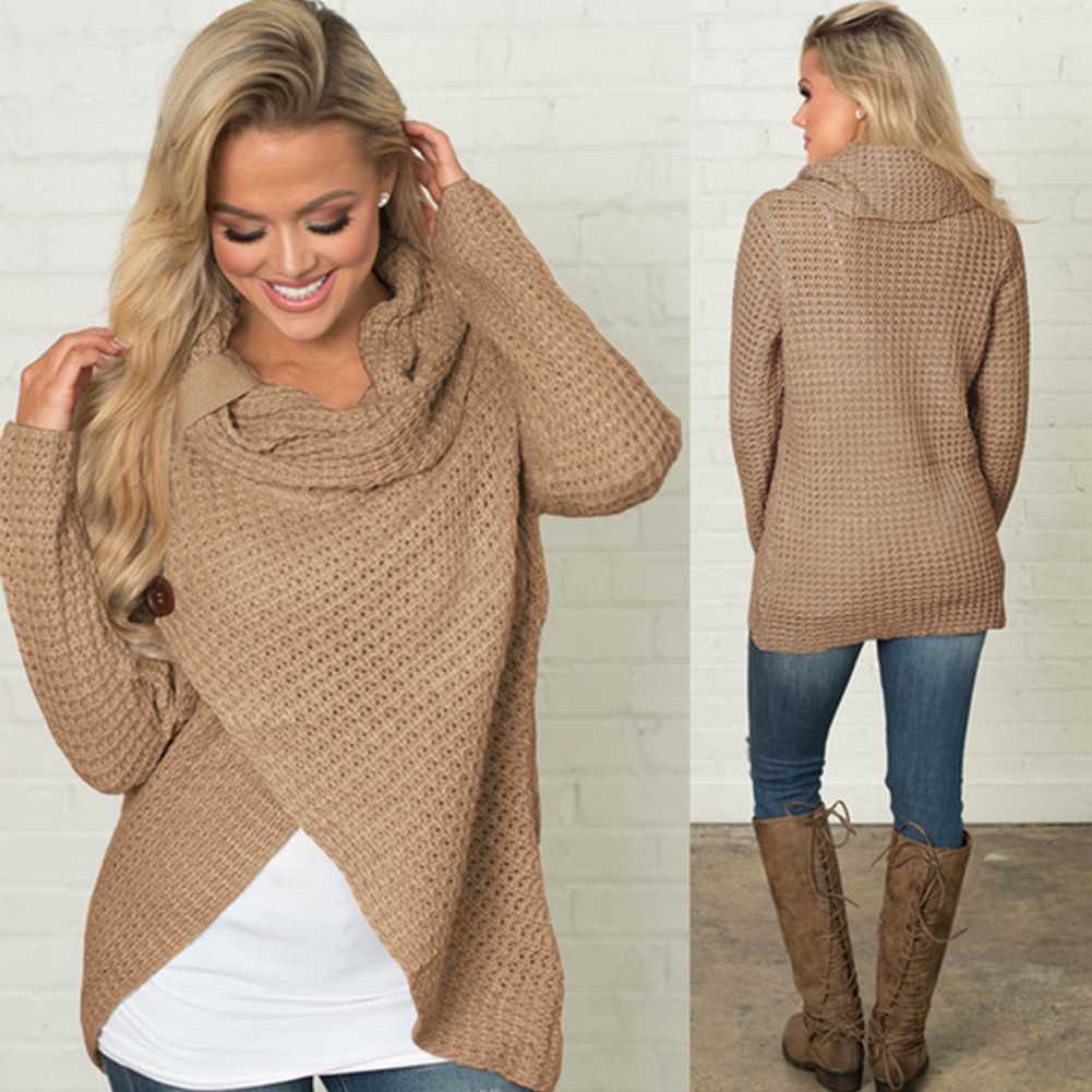 Women's Long Sleeve Sweater, Scarf Collar Knitted Oversized Solid 11