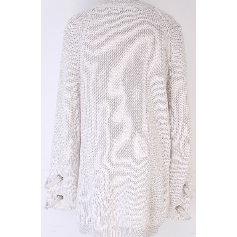 Women's Drawstring V- neck Long Sleeve Knitted Pullover, Loose Mid Length Sweater Jumper Tops Knitwear 7