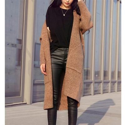 Women's Single Breasted Cashmere Knitted Long Cardigan, Sweater Coat
