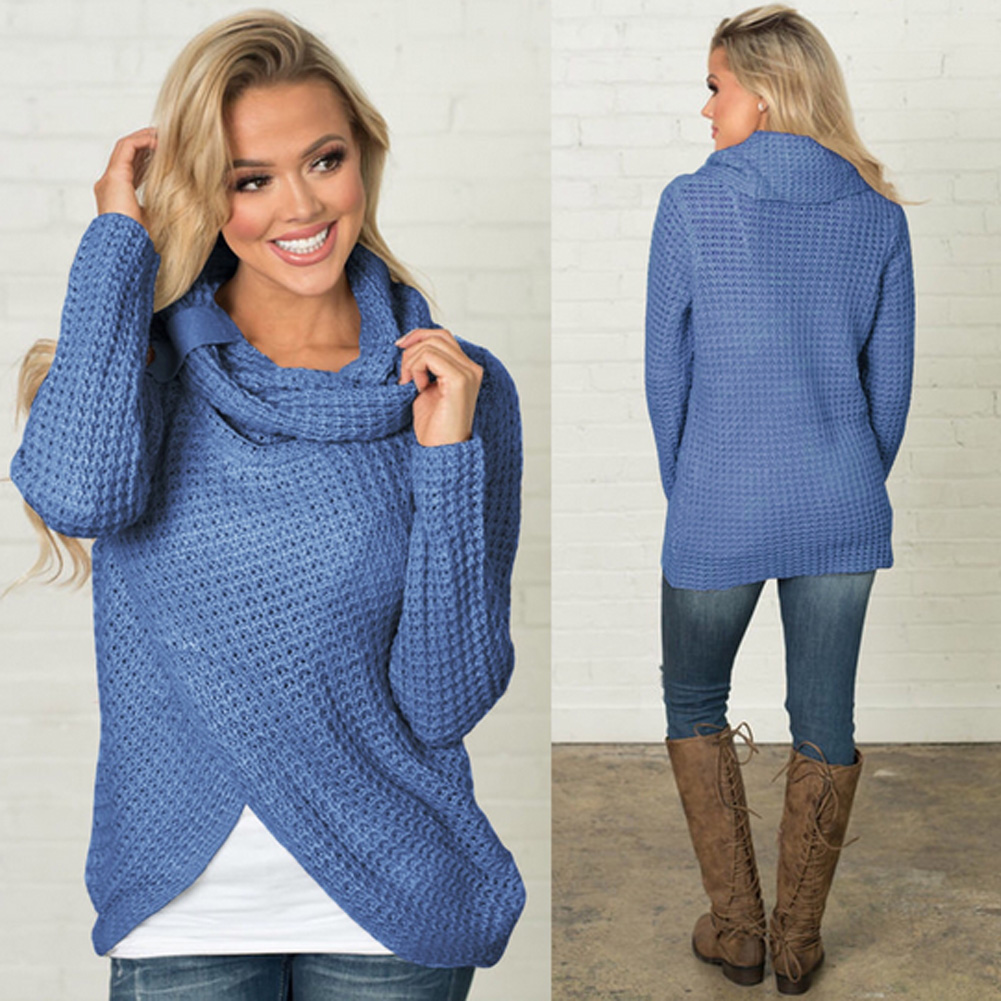 Women's Long Sleeve Sweater, Scarf Collar Knitted Oversized Solid 12