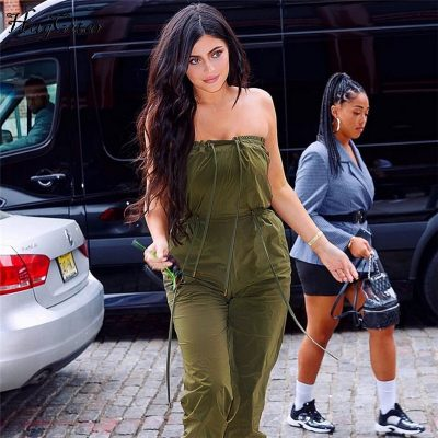 New Army Green Lace Up body Ladies , Sexy Spaghetti Strap, Off Shoulder Solid Jumpsuit