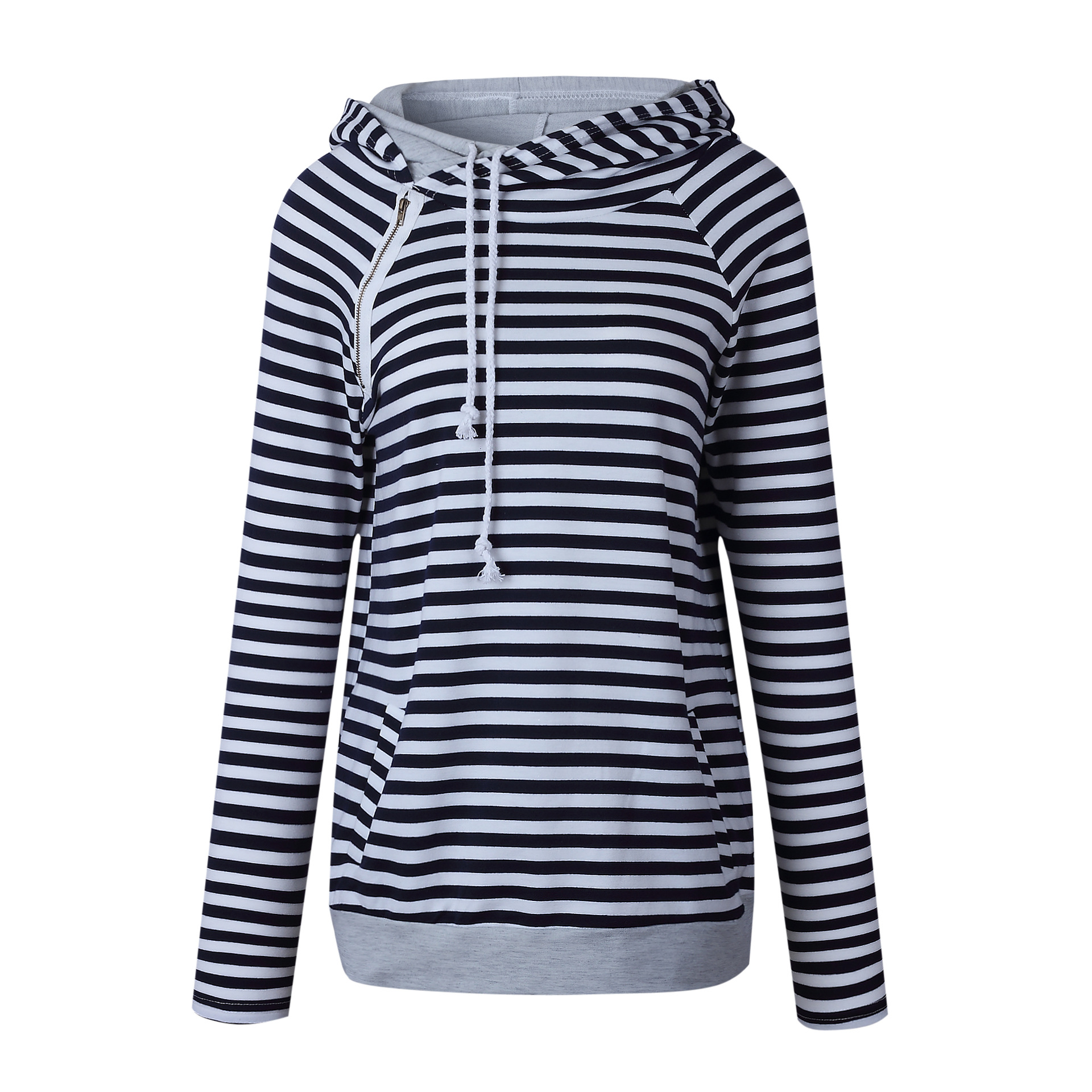 Women's Patchwork Striped Pullover Long Sleeve Hoodie, Tops With Pockets, Hooded Sweatshirt 3