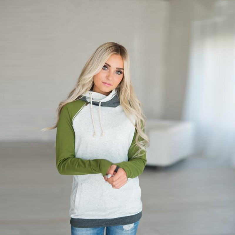 Women's Patchwork Striped Pullover Long Sleeve Hoodie, Tops With Pockets, Hooded Sweatshirt 72