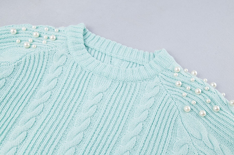Gradient Women's Sweater, Pullover Beading Long Sweater 16