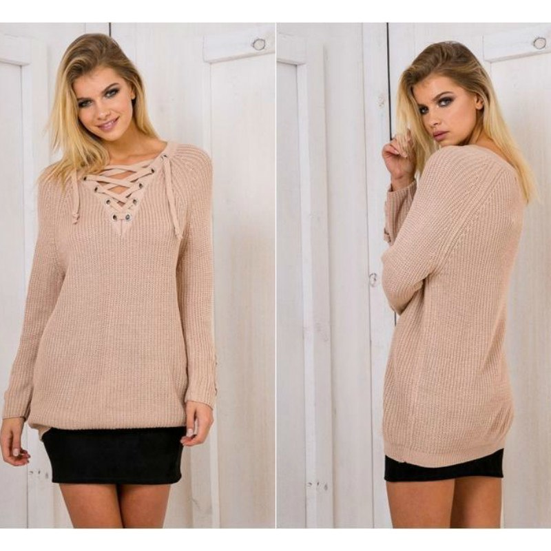 Women's Drawstring V- neck Long Sleeve Knitted Pullover, Loose Mid Length Sweater Jumper Tops Knitwear 1