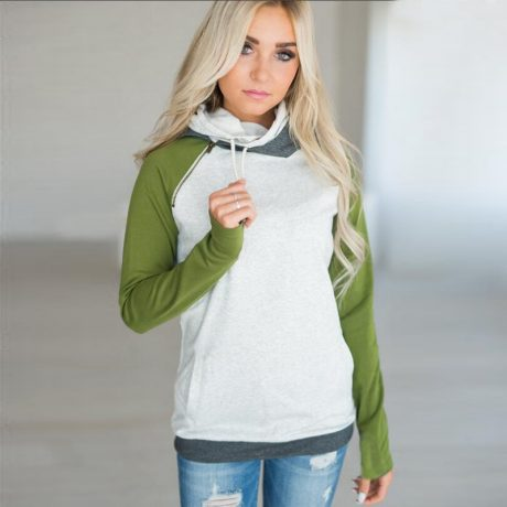 Women's Patchwork Striped Pullover Long Sleeve Hoodie, Tops With Pockets, Hooded Sweatshirt 5