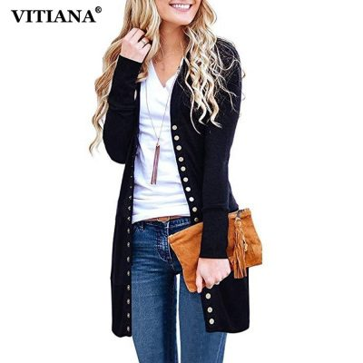 Women's Casual Long Cardigan, Long Sleeve Solid, Knitted Casual Sweater Jacket