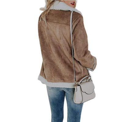 Women's Faux Leather Suede Leather Coat,  Pocket Aviator Jacket