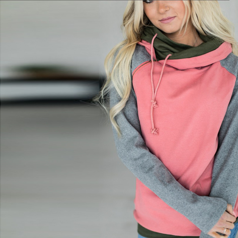 Women's Patchwork Striped Pullover Long Sleeve Hoodie, Tops With Pockets, Hooded Sweatshirt 27