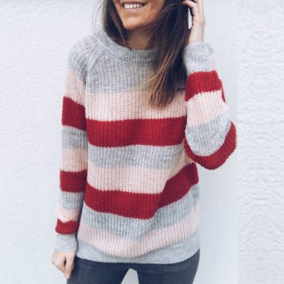 Women's Long Sleeve O-Neck,  Knitted Knot  Rainbow Striped Pullover Sweater, Casual  Sweet Loose Sweater