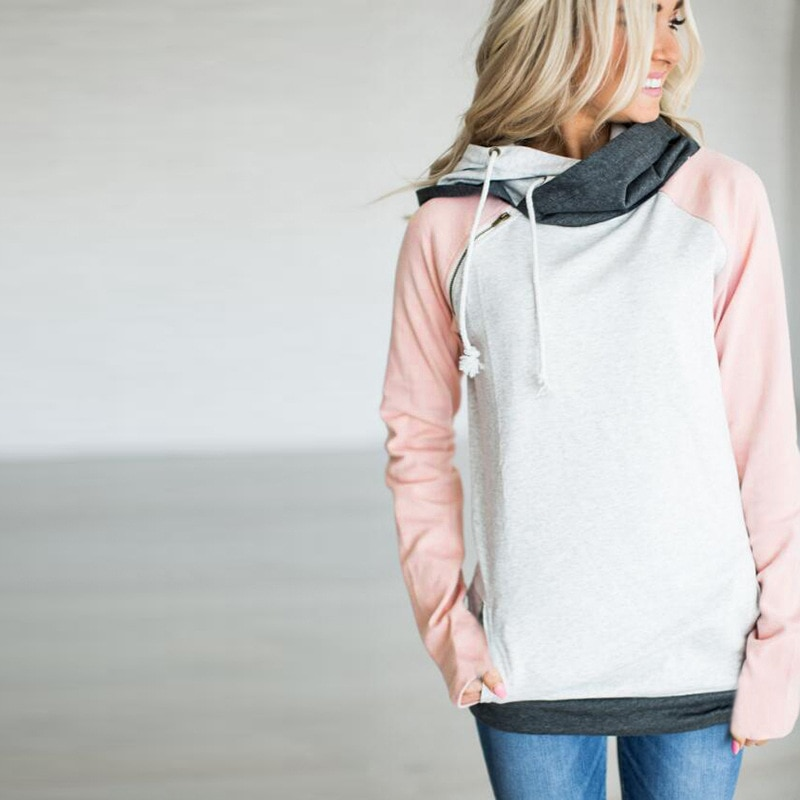Women's Patchwork Striped Pullover Long Sleeve Hoodie, Tops With Pockets, Hooded Sweatshirt 69