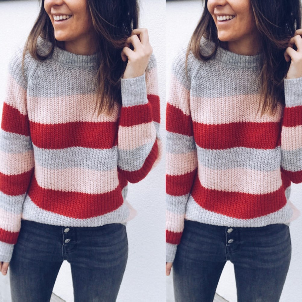 Women's Long Sleeve O-Neck, Knitted Knot Rainbow Striped Pullover Sweater, Casual Sweet Loose Sweater 11