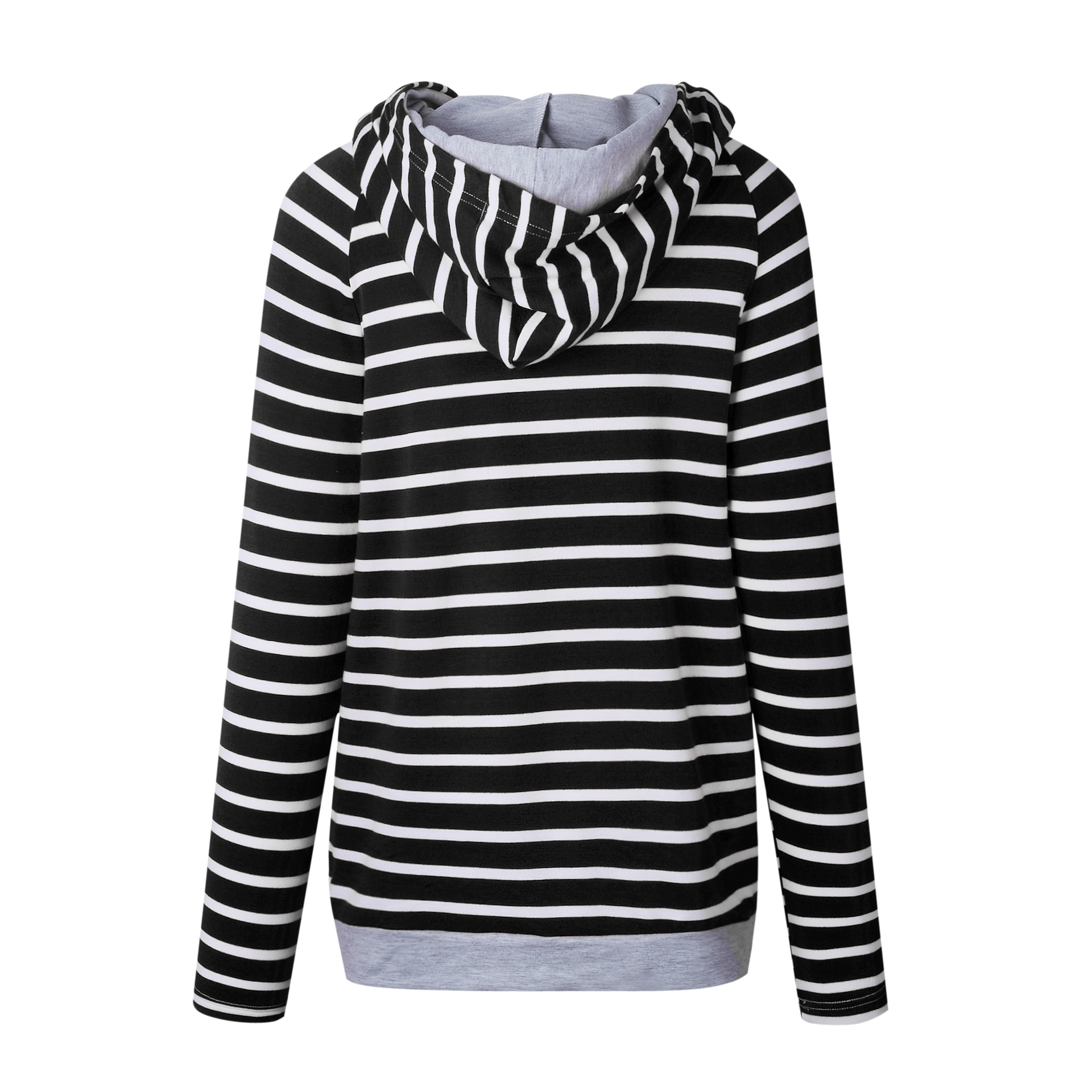 Women's Patchwork Striped Pullover Long Sleeve Hoodie, Tops With Pockets, Hooded Sweatshirt 37