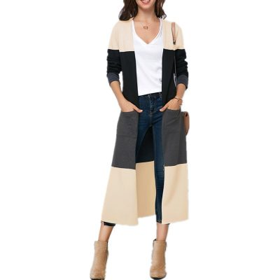 Women's Color Patchwork Long Cardigan Coat, Casual Long Sleeve,Pockets, Split Coat Outwear Trench