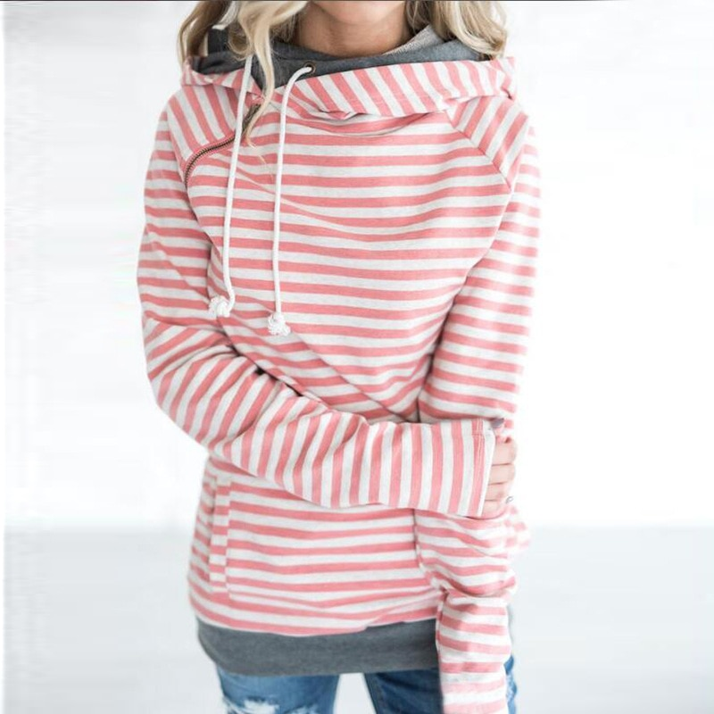 Women's Patchwork Striped Pullover Long Sleeve Hoodie, Tops With Pockets, Hooded Sweatshirt 17