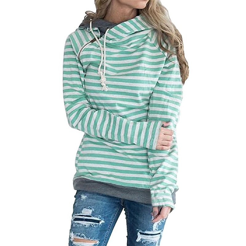 Women's Patchwork Striped Pullover Long Sleeve Hoodie, Tops With Pockets, Hooded Sweatshirt 12