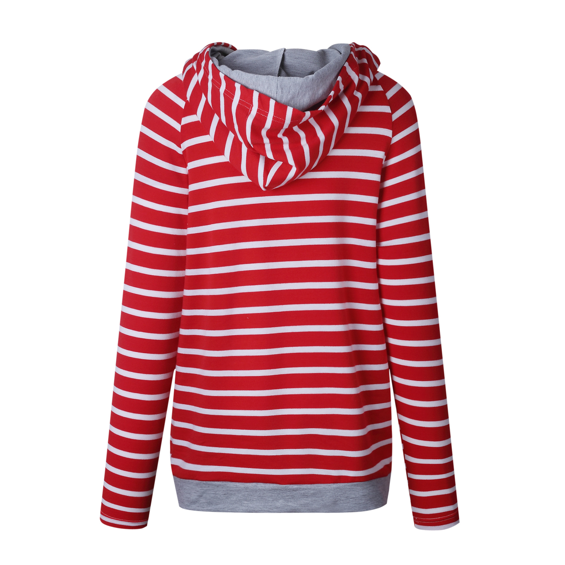 Women's Patchwork Striped Pullover Long Sleeve Hoodie, Tops With Pockets, Hooded Sweatshirt 40