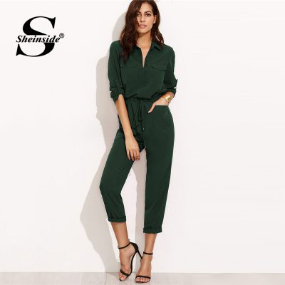 Green Autumn Jumpsuit Woman Clothes Jumpsuits For Women, Tie Waist Rolled Sleeve Jumpsuit