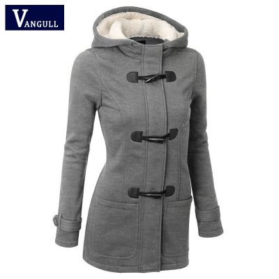 Women Causal Coat, Women's Overcoat, Hooded Coat Zipper Horn Button Outwear Jacket
