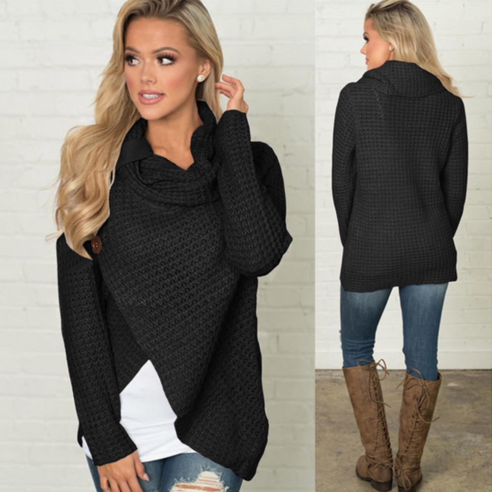 Women's Long Sleeve Sweater, Scarf Collar Knitted Oversized Solid 10
