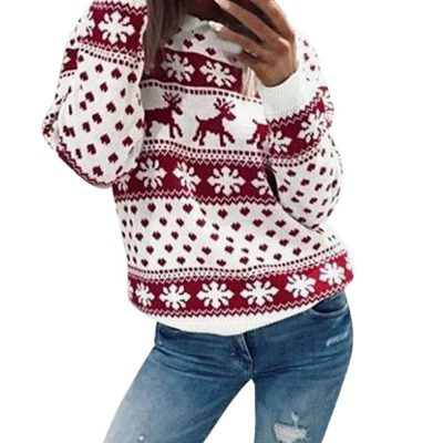 Christmas Collection Sweater, Women's Winter Snowflake/Elk Print Long Sleeve Sweater
