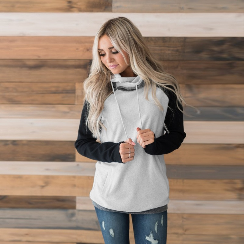 Women's Patchwork Striped Pullover Long Sleeve Hoodie, Tops With Pockets, Hooded Sweatshirt 61