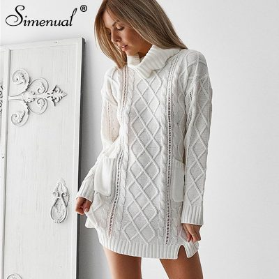 Pocket Turtleneck Sweater Dress,  Winter Twist Fashion, White Long Jumper knitwear, Slit Women's Sweater Pullover