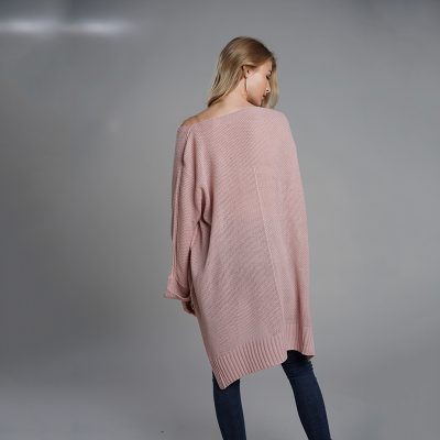 Oversized Batwing Sleeve Lady's Sweater, Knitwear V Neck, Long Pullover