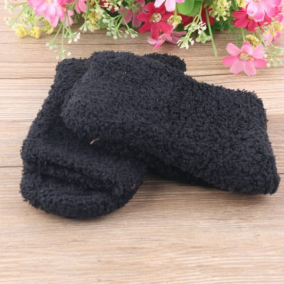 Lounging Around Fashion Casual Candy Color Women's Thick Coral Fleece Slipper Short  Fuzzy Socks