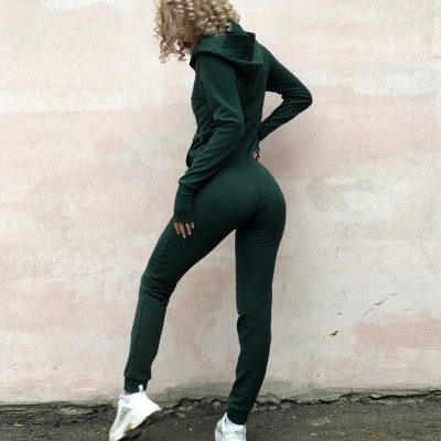 Sexy Jumpsuit Women Long Sleeve Bodycon Hooded Bodysuit Rompers Autumn Winter Female Front Zipper Slim Long Jumpsuits chifave