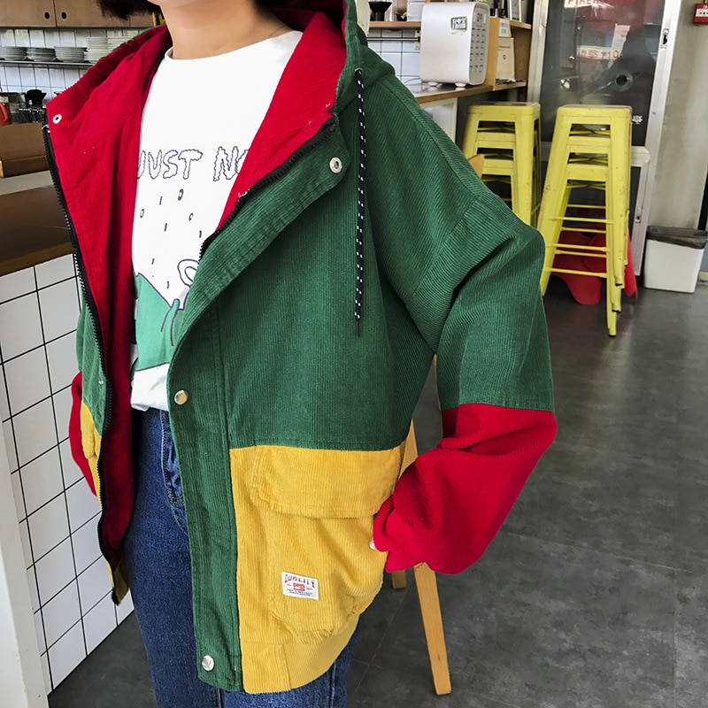 Winter Warm Color Block Hooded Corduroy Jacket Drawstring Hit Color Patched Pocket Thick Basic Women Coat 9