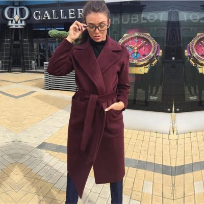 Winter Fashion New Lapel Long Sleeves With Solid Color Plush Long Ladies Coat