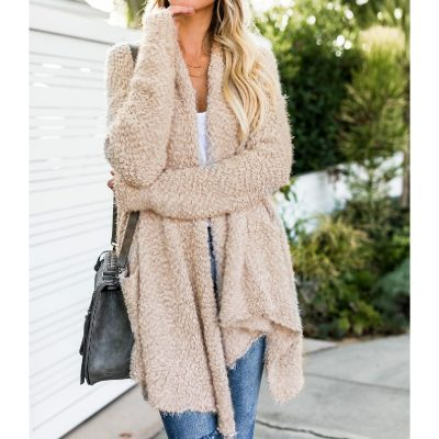 Women's Cardigan Long Sleeve Turn-down Collar, Fleece Fur Sweater Cardigan, Fashion Warm Sweater Tops
