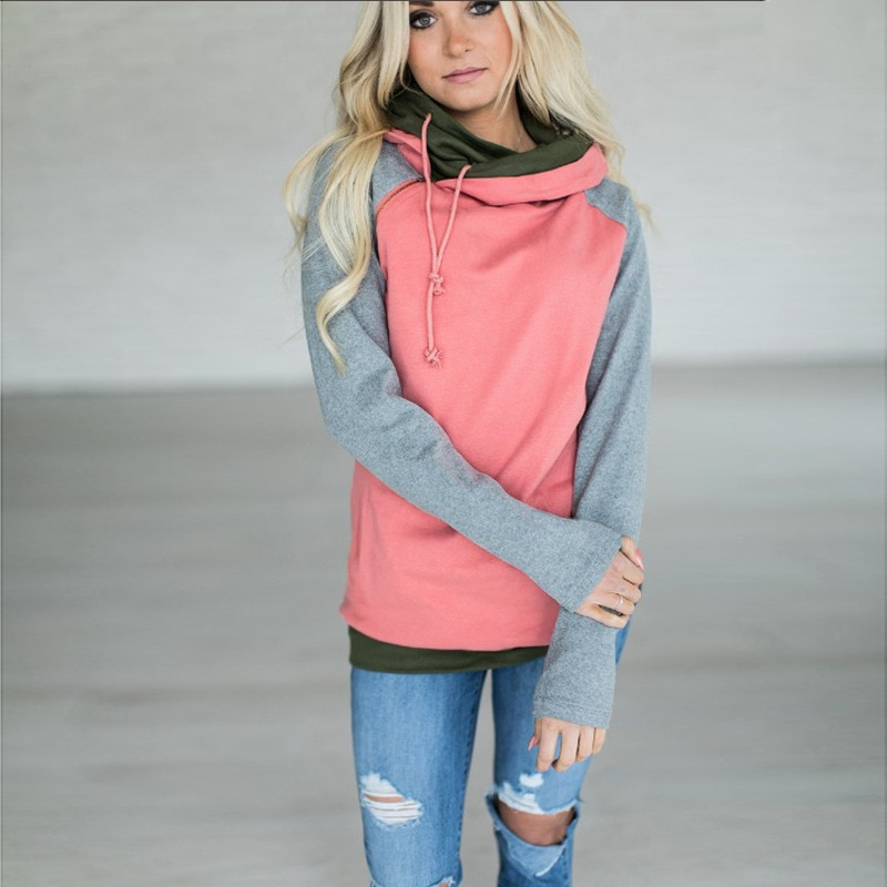 Women's Patchwork Striped Pullover Long Sleeve Hoodie, Tops With Pockets, Hooded Sweatshirt 24