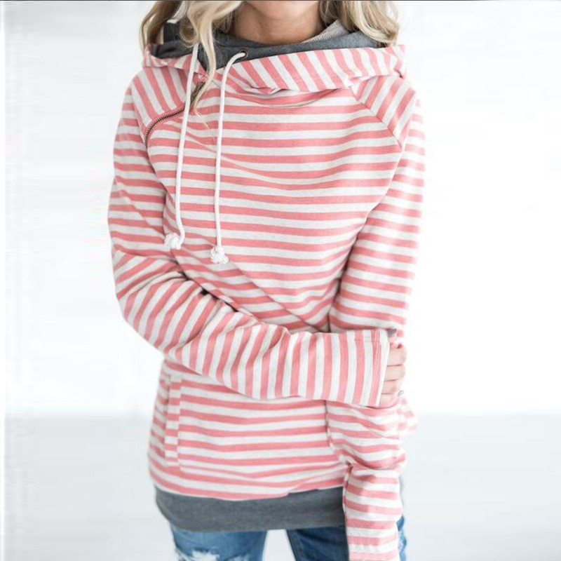 Women's Patchwork Striped Pullover Long Sleeve Hoodie, Tops With Pockets, Hooded Sweatshirt 14