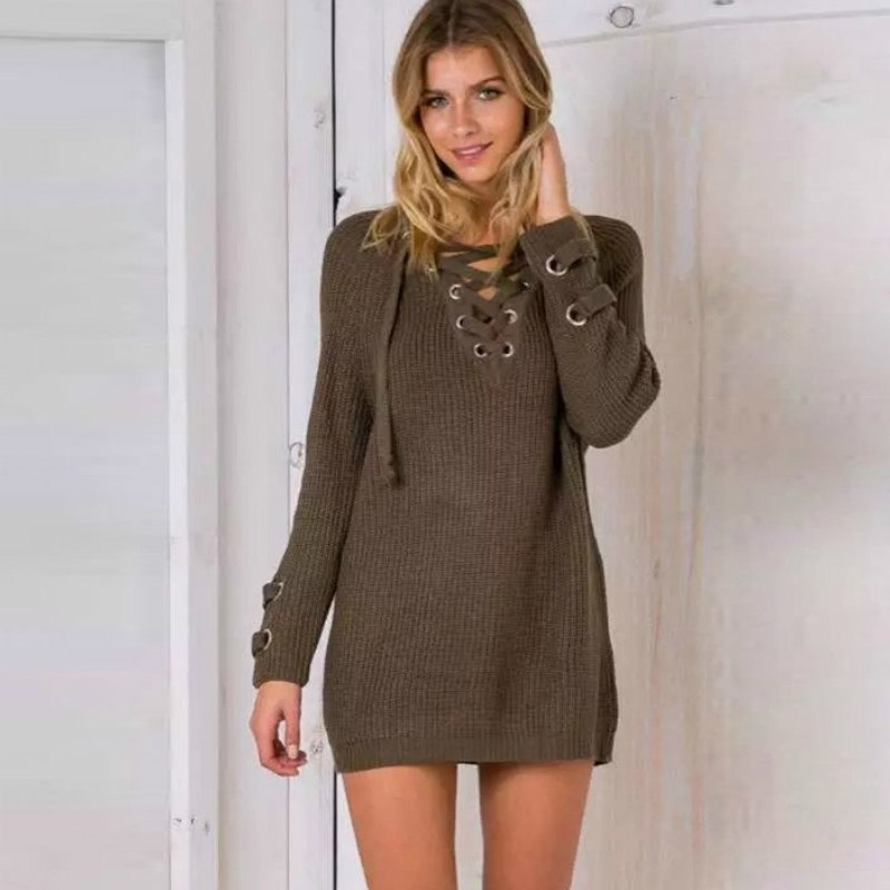 Women's Drawstring V- neck Long Sleeve Knitted Pullover, Loose Mid Length Sweater Jumper Tops Knitwear 2