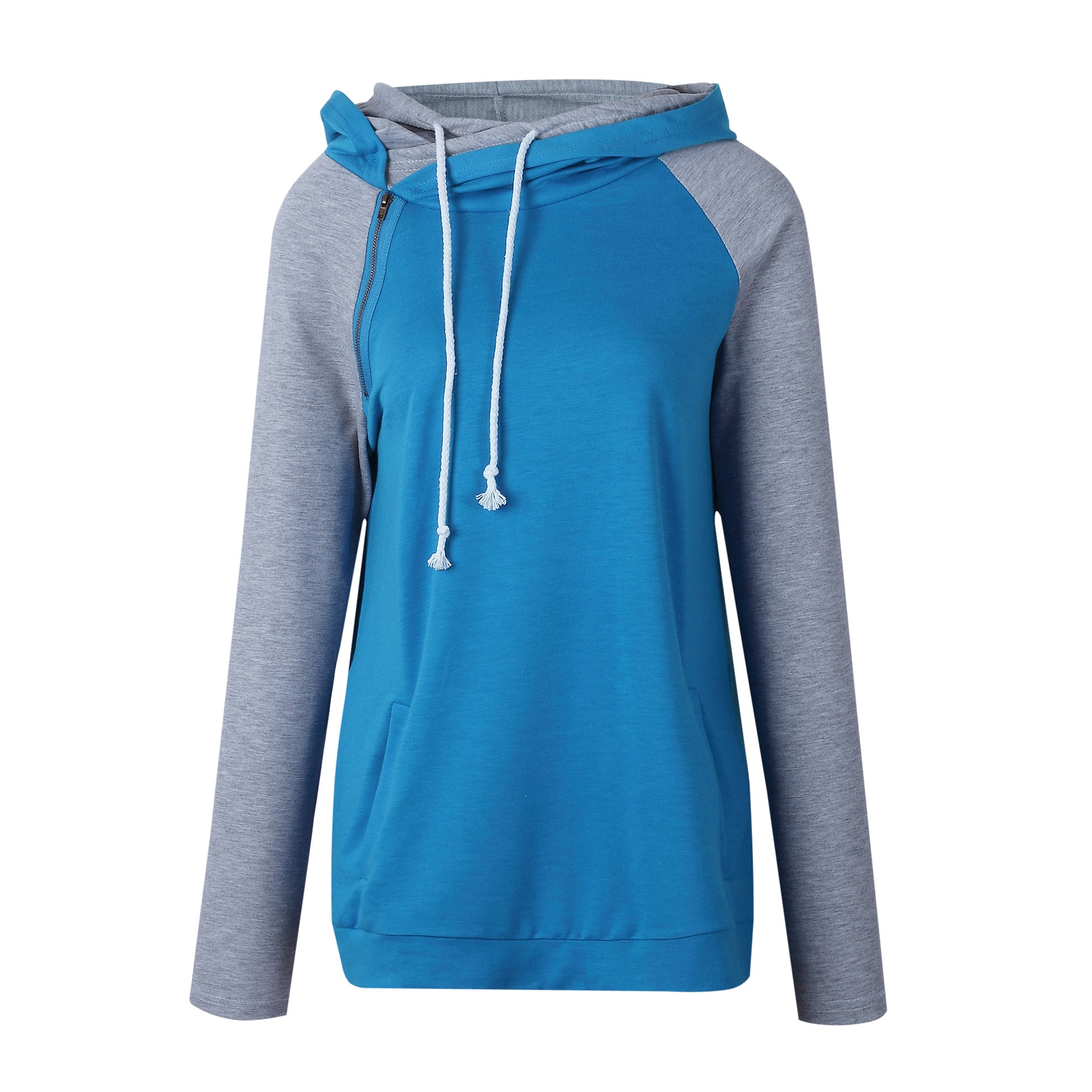 Women's Patchwork Striped Pullover Long Sleeve Hoodie, Tops With Pockets, Hooded Sweatshirt 28