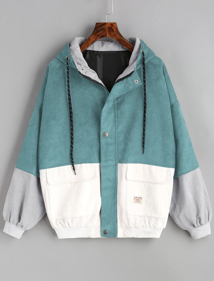 Winter Warm Color Block Hooded Corduroy Jacket Drawstring Hit Color Patched Pocket Thick Basic Women Coat 3